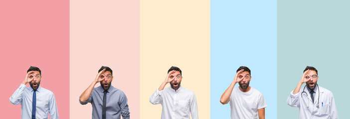 Collage of handsome man over colorful stripes isolated background doing ok gesture shocked with surprised face, eye looking through fingers. Unbelieving expression.