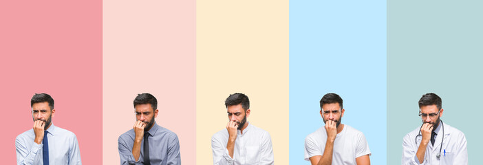 Collage of handsome man over colorful stripes isolated background looking stressed and nervous with hands on mouth biting nails. Anxiety problem.