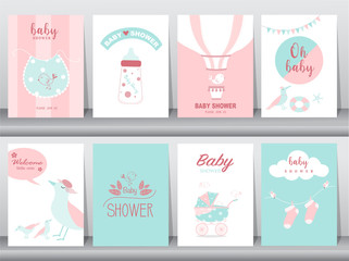 Set of baby shower invitations cards,poster,greeting,template,animal,cute,bird,baby apron,Vector illustrations