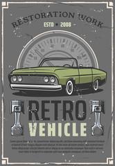 Retro car auto restoration service center poster