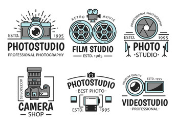 Photography and retro film studio vector icons