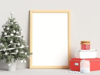 Christmas Decoration Mock Up Poster Frame