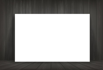 White paper in dark room space background. Vector.