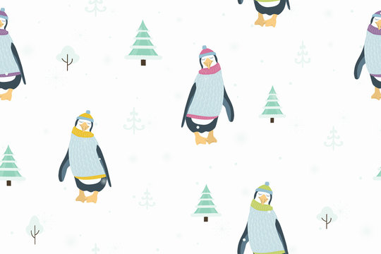 Seamless pattern with penguin cartoon character wearing colorful warm clothing funny posture. White background with christmas trees. Winter holidays New Year Xmas. Vector design illustration.