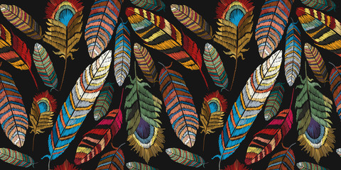 Feathers embroidery seamless pattern. Beautiful tropical peacock feathers embroidery, template textiles, t-shirt design