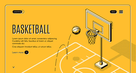 Basketball team, sport club black line art, isometric vector web banner, web site template with ball jumping on court in hoop illustration. Basketball championship, sport game tournament landing page