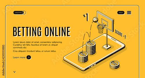 Betting on sports online line art, isometric vector web
