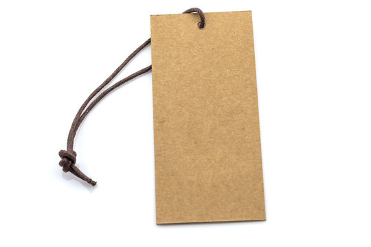 Brown blank tag isolated on white