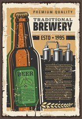 Brewery premium quality beer vector retro poster
