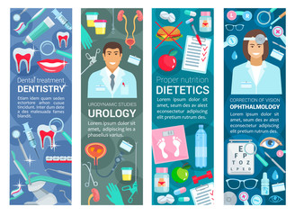 Dentistry, urology and dietetics health banners