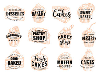 Cakes desserts and pastry sweets sketch lettering