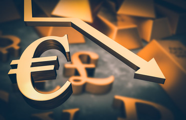 Golden euro symbol and golden arrow down