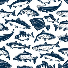 Sea and ocean fishes seamless pattern background