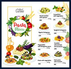 Italian cuisine traditional pasta dishes menu