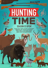 Hunting time and hunt open season animals poster