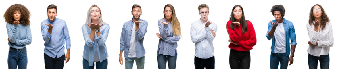 Composition of african american, hispanic and caucasian group of people over isolated white background looking at the camera blowing a kiss with hand on air being lovely and sexy. Love expression.