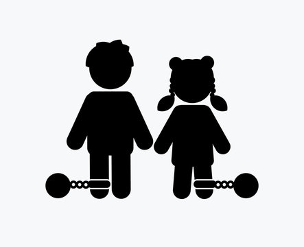 Stop Child abuse ,Children with chain and ball icon graphic vector.