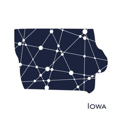 Image relative to USA travel. Iowa state map textured by lines and dots pattern
