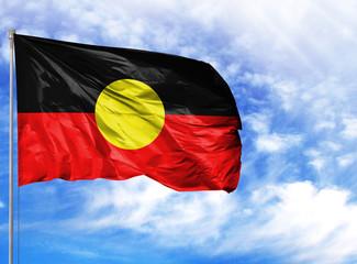 National flag of Australian Aboriginal on a flagpole