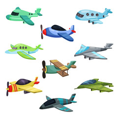 Flat vector set of different aircrafts. Military jet planes, passenger airplane and biplane. Elements for mobile game or children book