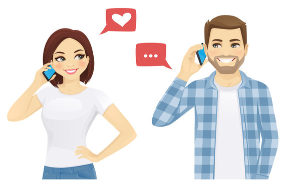 Young man and woman talking on phone vector illustration
