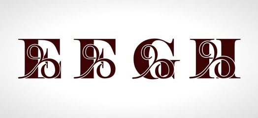 Decorative capital letters F, E, G, H for your monogram, logo, emblem. Beautiful alphabet with floral ornaments.