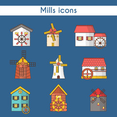 Vector set of windmills and watermills icons isolated on background