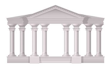 Antique White Columns Realistic Composition Wall mural