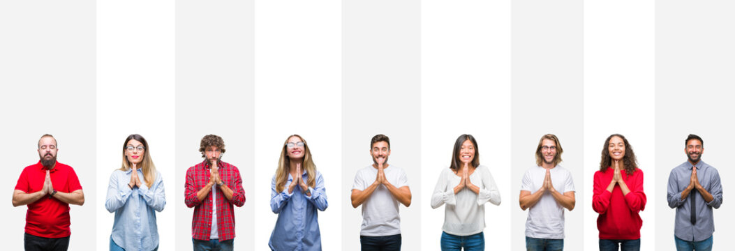 Collage of different ethnics young people over white stripes isolated background praying with hands together asking for forgiveness smiling confident.