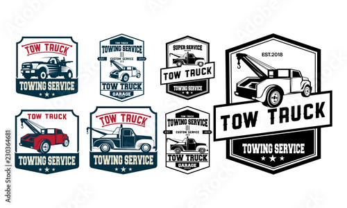 Vintage Car Tow Truck Emblems Labels And Design Elements