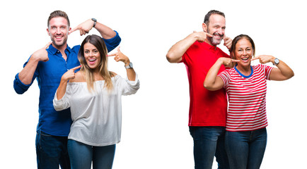 Collage of young and mature couple in love over isolated background smiling confident showing and pointing with fingers teeth and mouth. Health concept.