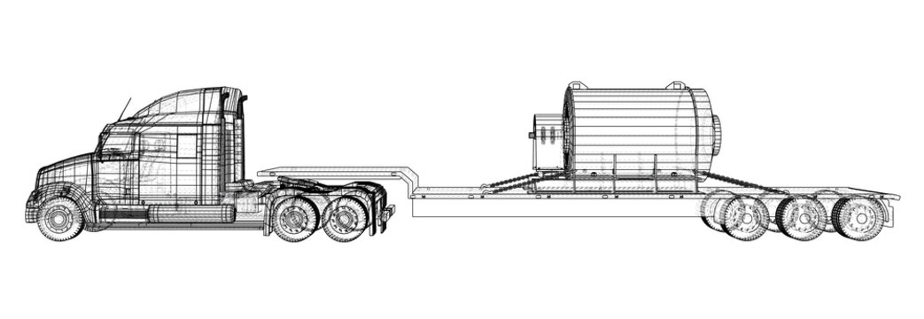Low bed Truck Trailer. Abstract drawing. Cargo vehicle. Wire-frame. EPS10 format. Vector created of 3d