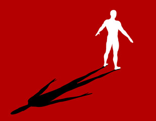 Standing man. Vector silhouette illustration. Back view.