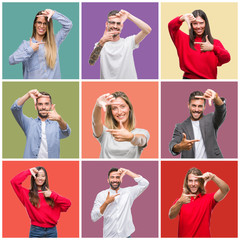 Collage of group people, women and men over colorful isolated background smiling making frame with hands and fingers with happy face. Creativity and photography concept.