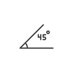 45 Degrees Angle outline icon. linear style sign for mobile concept and web design. Geometry angle simple line vector icon. Symbol, logo illustration. Pixel perfect vector graphics
