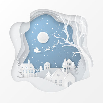 Vector winter night scene with fir trees, houses, moon, santa's sleigh, deers and snow in carving art style. Festive layered background with 3D realistic paper-cut of Christmas Village and snowfall.
