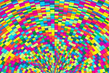colorful abstract background with box distortion 3D illustration
