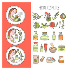 Herbal cosmetic. Vector hand drawn illustration for natural eco cosmetics store. A large set of jars with natural oils. Three emblems with a girl and a sprig of olive, rosemary and eucalyptus.