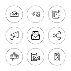 Collection of 9 outline send icons
