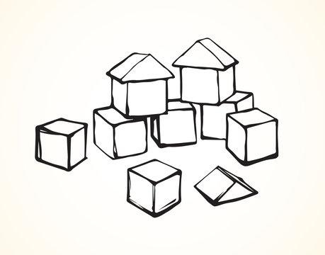 Children's cubes. Vector drawing