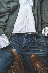 Men's clothes. Flat lay and top view