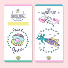 Vector cards with sea creatures. Squid and shell with a pearl.