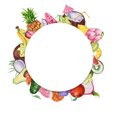 Watercolor frame with fruits and leaves.