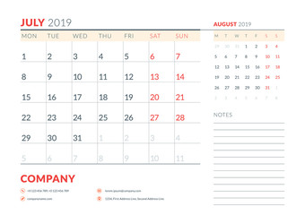July 2019. Week starts on Monday. Calendar planner stationery design template. Vector illustration