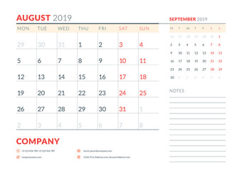 August 2019. Week starts on Monday. Calendar planner stationery design template. Vector illustration