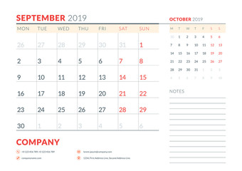 September 2019. Week starts on Monday. Calendar planner stationery design template. Vector illustration