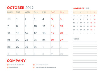 October 2019. Week starts on Monday. Calendar planner stationery design template. Vector illustration