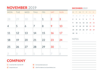 November 2019. Week starts on Monday. Calendar planner stationery design template. Vector illustration