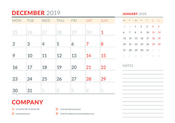 December 2019. Week starts on Monday. Calendar planner stationery design template. Vector illustration