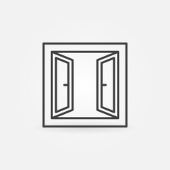 Opened window icon. Vector symbol in thin line style
